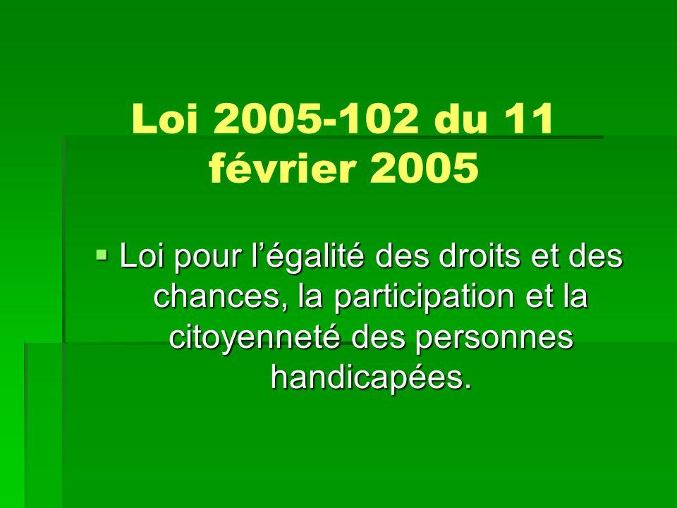 Loi 2005-102 du 11 février 2005 Loi pour l'égalité des droits et des chances, la participation et la citoyenneté des personnes handicapées.