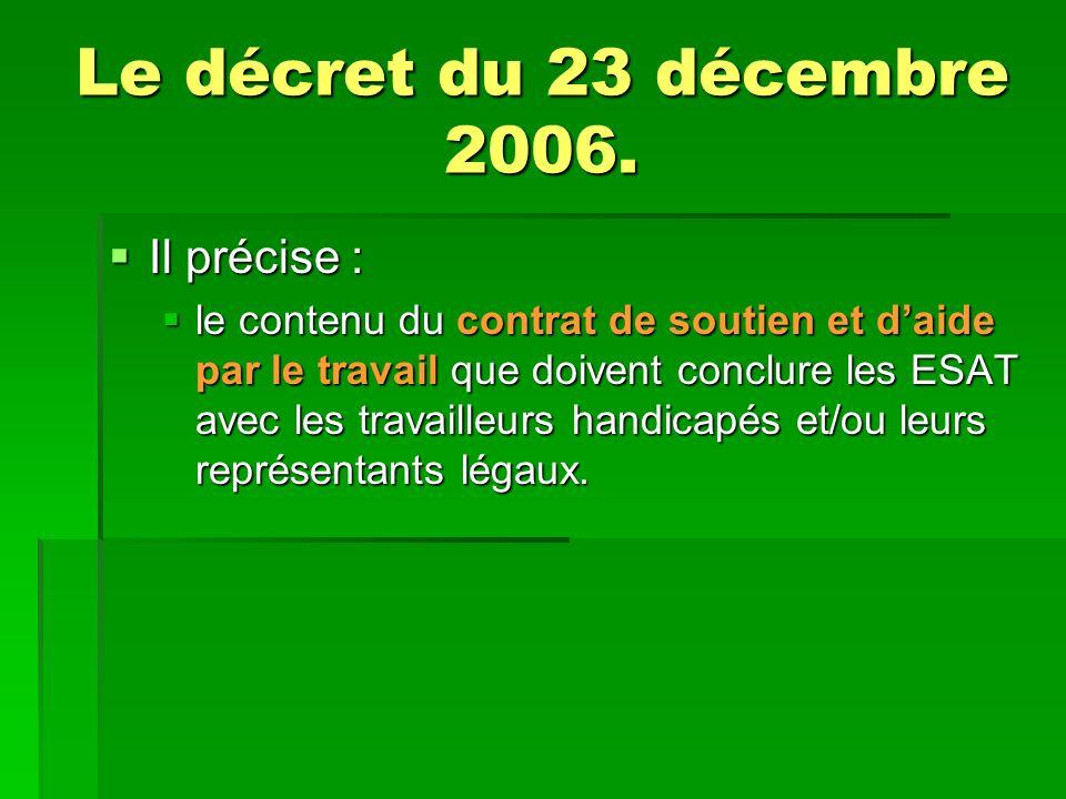 Le décret du 23 décembre 2006. Il précise :