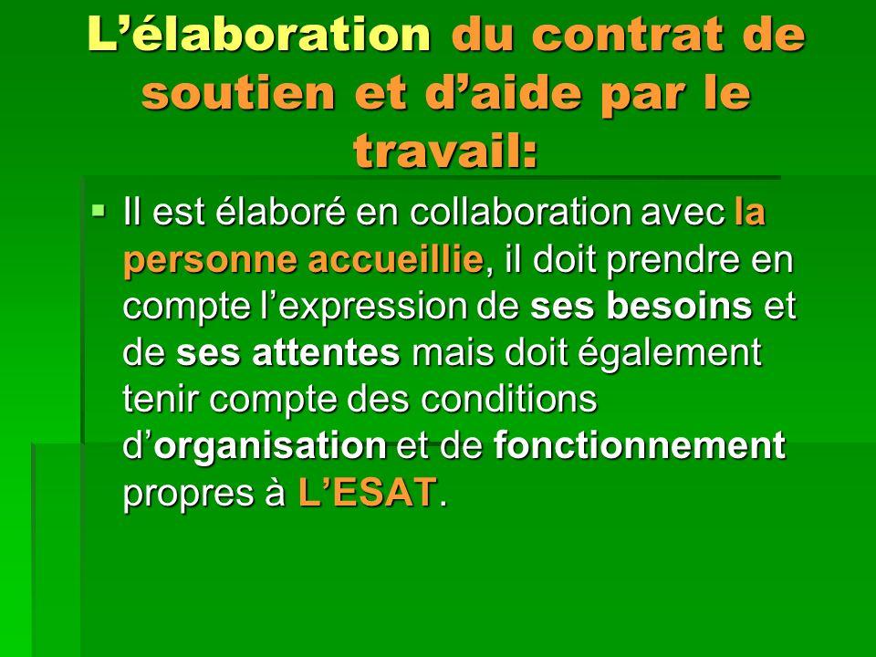 L'élaboration du contrat de soutien et d'aide par le travail: