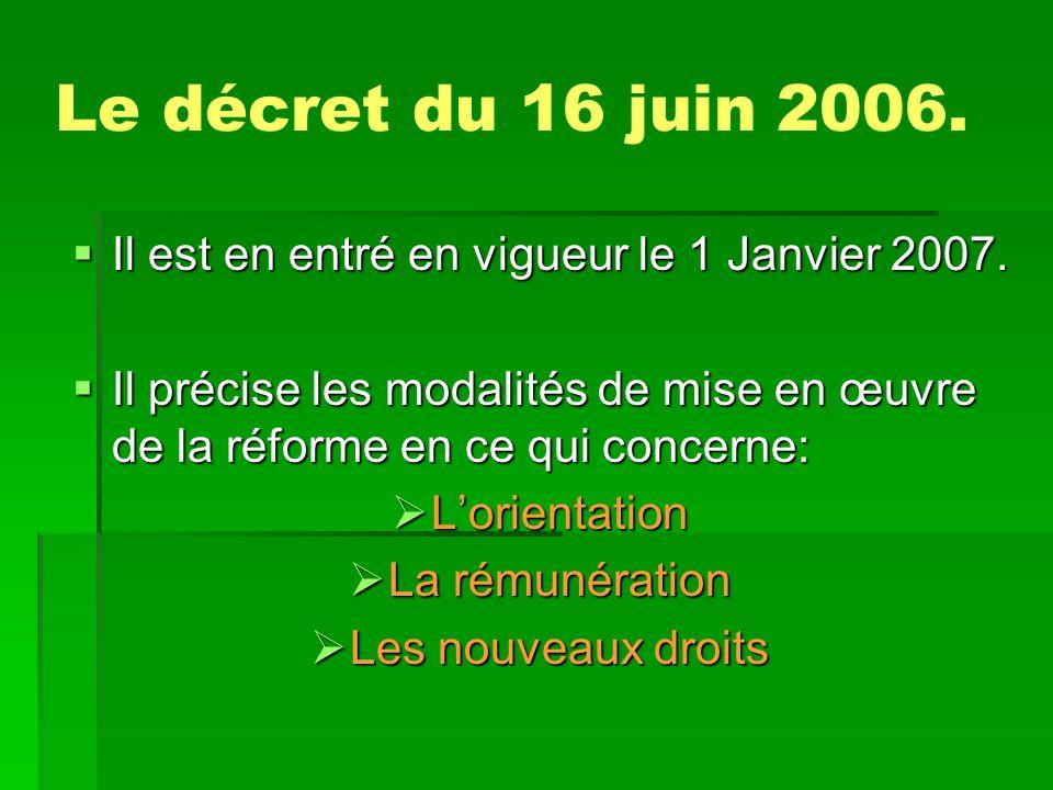 Le décret du 16 juin 2006. Il est en entré en vigueur le 1 Janvier 2007. Il précise les modalités de mise en œuvre de la réforme en ce qui concerne: