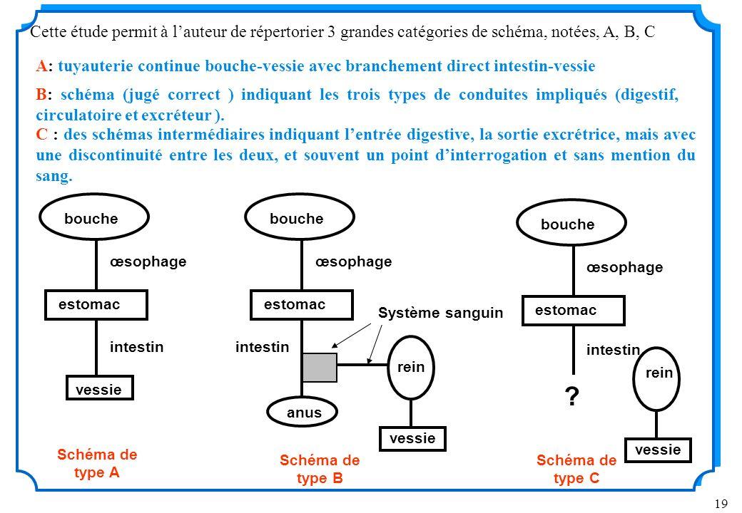 Cette étude permit à l'auteur de répertorier 3 grandes catégories de schéma, notées, A, B, C