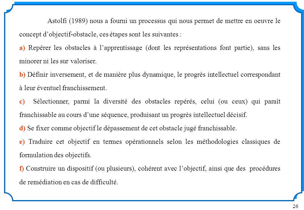 Astolfi (1989) nous a fourni un processus qui nous permet de mettre en oeuvre le concept d'objectif-obstacle, ces étapes sont les suivantes :