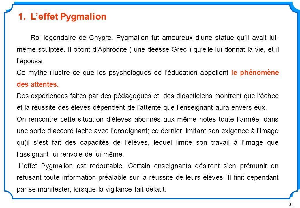 1. L'effet Pygmalion