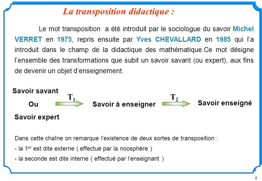 La transposition didactique :