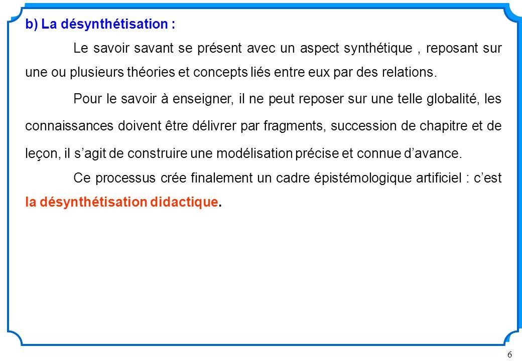 b) La désynthétisation :