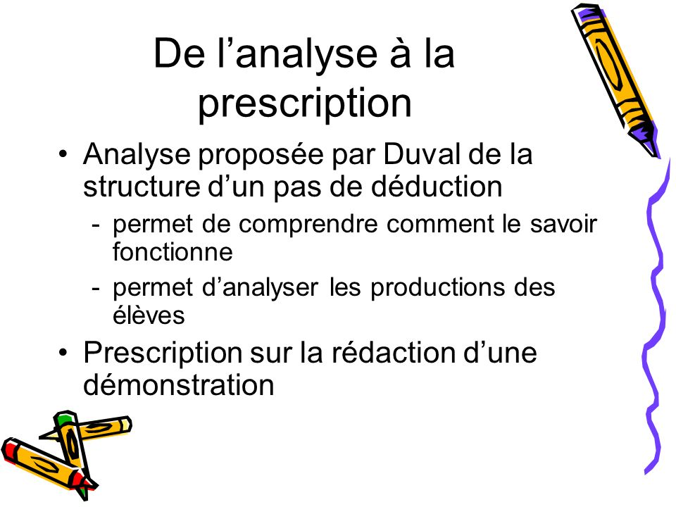 De l'analyse à la prescription