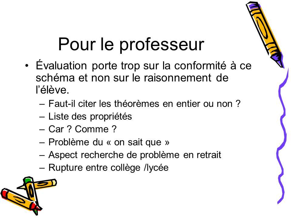 Pour le professeur Évaluation porte trop sur la conformité à ce schéma et non sur le raisonnement de l'élève.