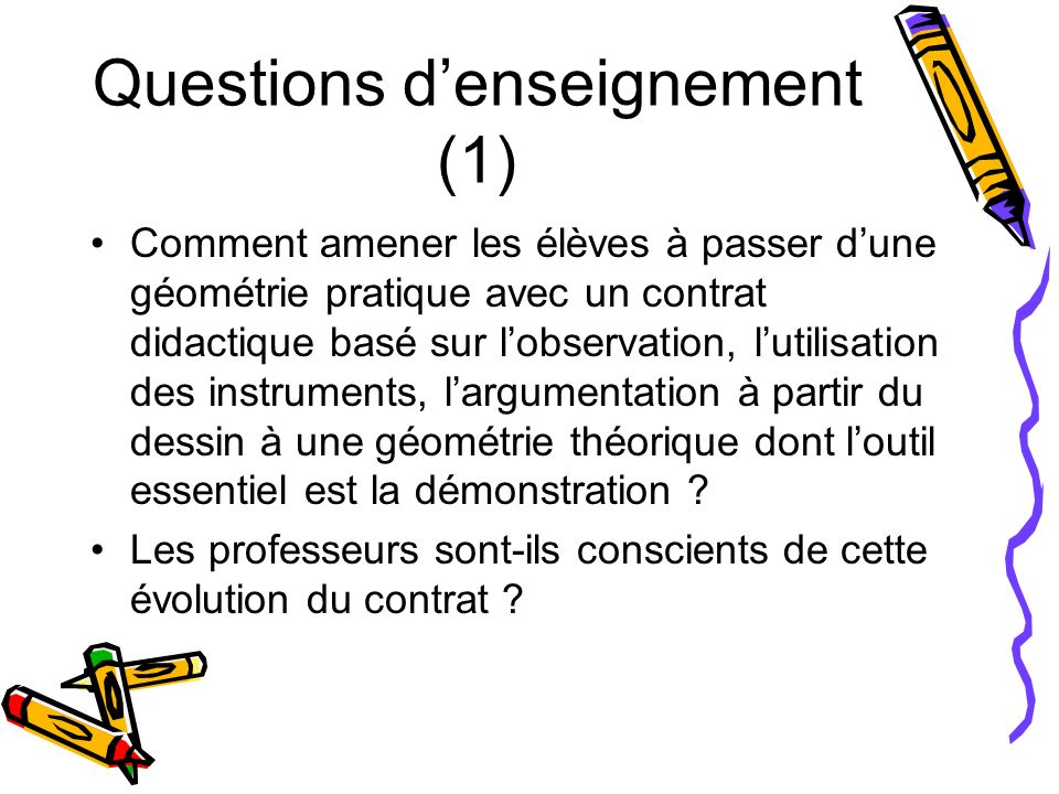 Questions d'enseignement (1)