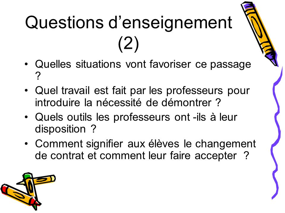 Questions d'enseignement (2)