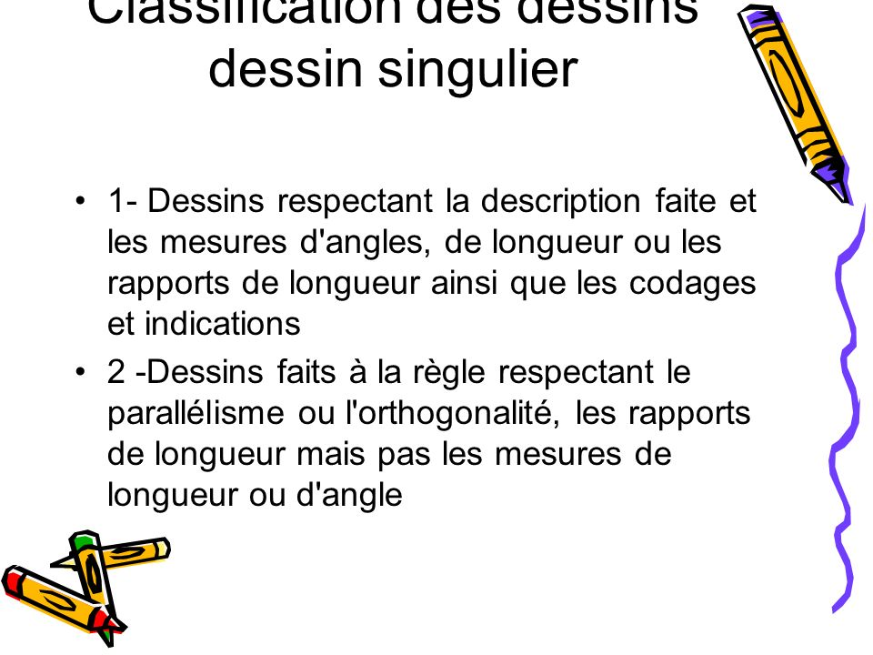 Classification des dessins dessin singulier