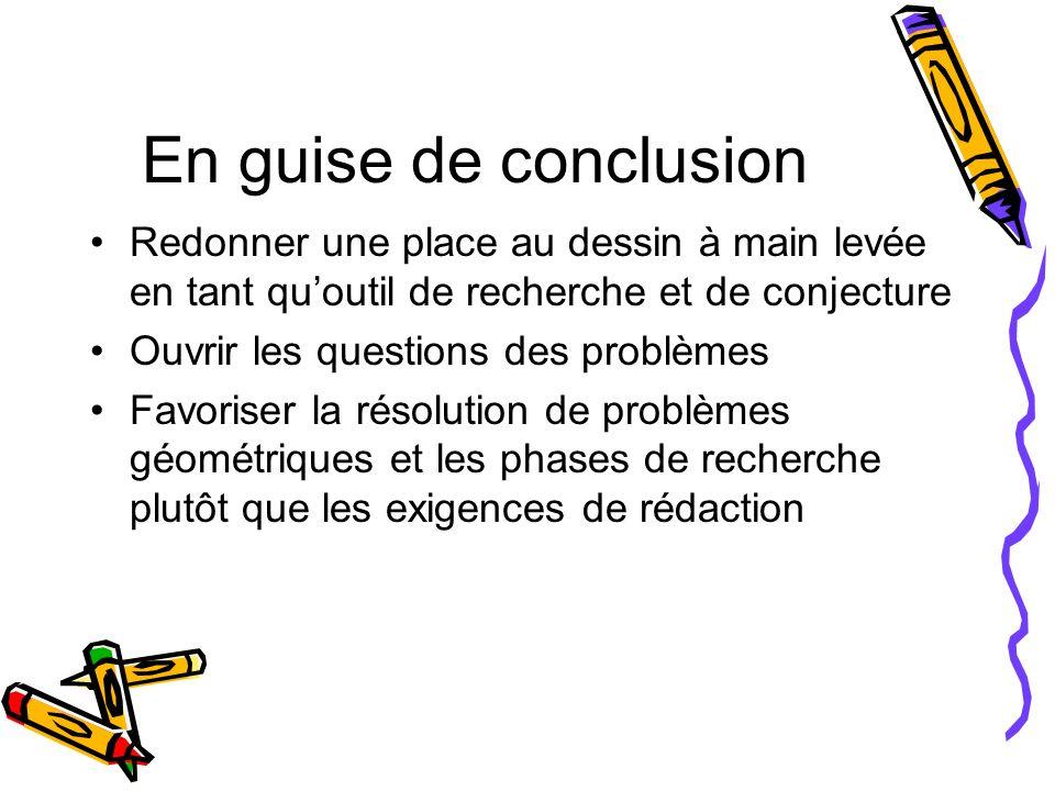 En guise de conclusion Redonner une place au dessin à main levée en tant qu'outil de recherche et de conjecture.