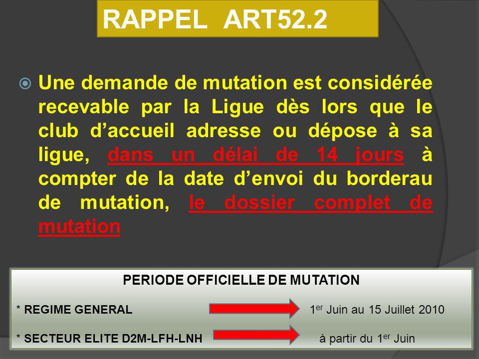 PERIODE OFFICIELLE DE MUTATION