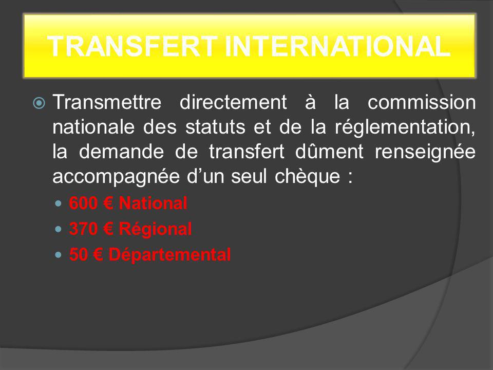 TRANSFERT INTERNATIONAL