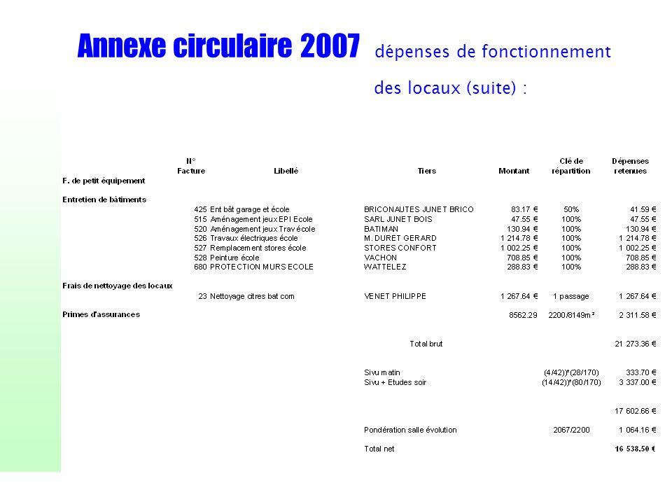 Annexe circulaire 2007 dépenses de fonctionnement des locaux (suite) :