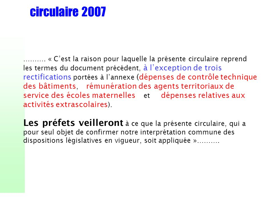 circulaire 2007