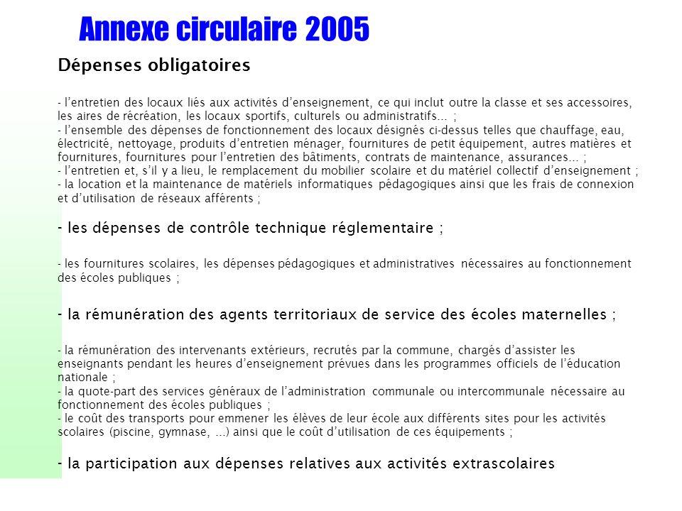 Annexe circulaire 2005 Dépenses obligatoires