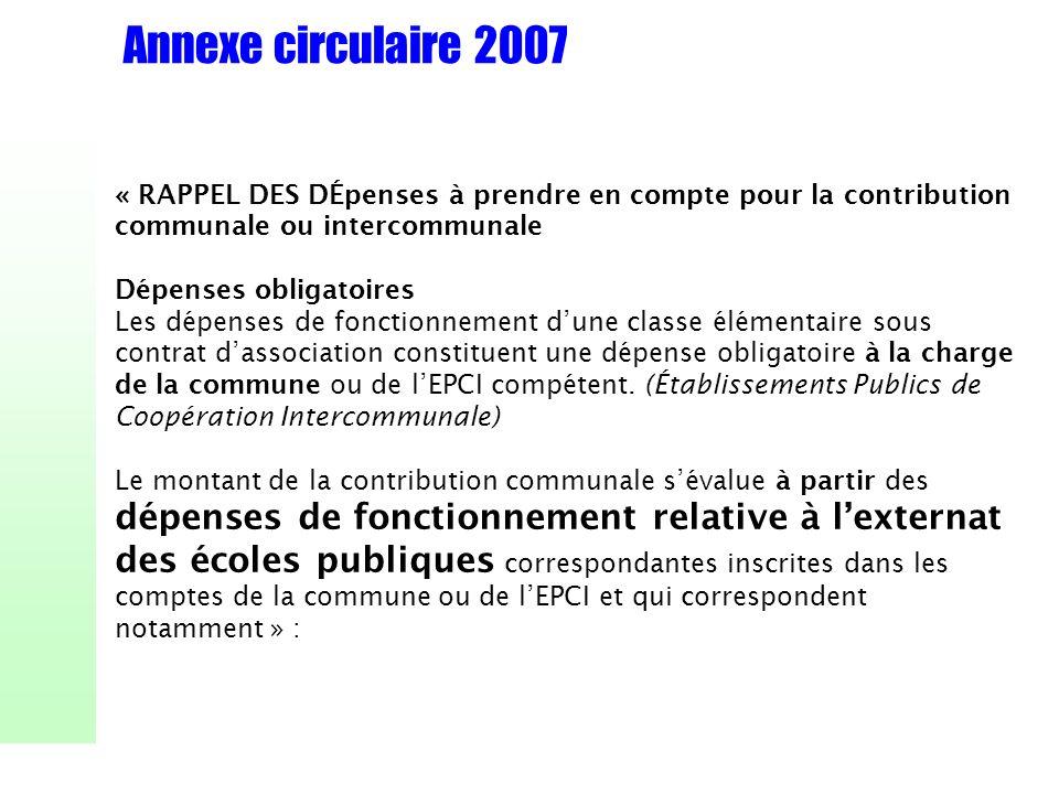 Annexe circulaire 2007« RAPPEL DES DÉpenses à prendre en compte pour la contribution communale ou intercommunale.