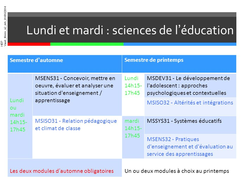 Lundi et mardi : sciences de l'éducation
