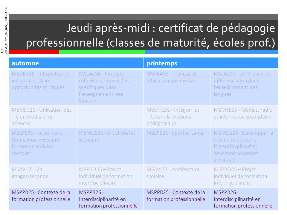 Jeudi après-midi : certificat de pédagogie professionnelle (classes de maturité, écoles prof.)