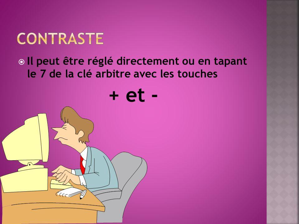 CONTRASTE Il peut être réglé directement ou en tapant le 7 de la clé arbitre avec les touches.