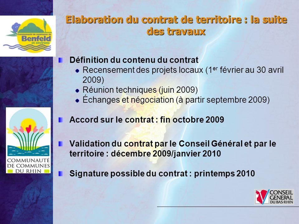 Elaboration du contrat de territoire : la suite des travaux