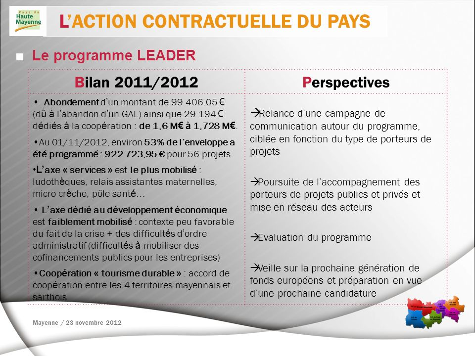 L'ACTION CONTRACTUELLE DU PAYS