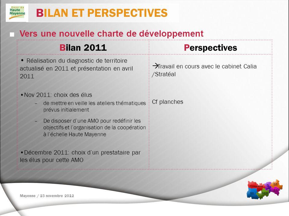 BILAN ET PERSPECTIVES Bilan 2011 Perspectives