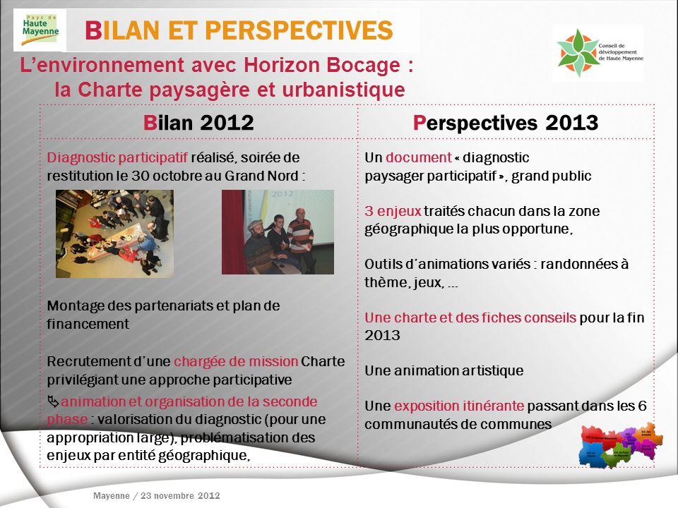 BILAN ET PERSPECTIVES Bilan 2012 Perspectives 2013