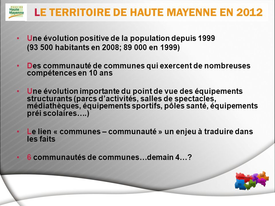 LE TERRITOIRE DE HAUTE MAYENNE EN 2012