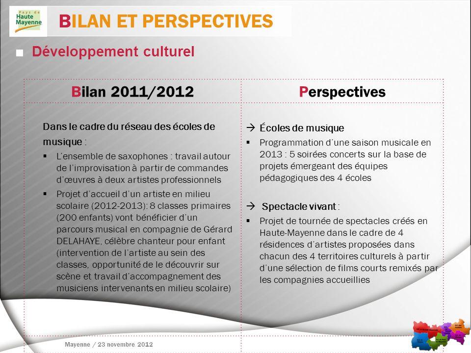 BILAN ET PERSPECTIVES Bilan 2011/2012 Perspectives