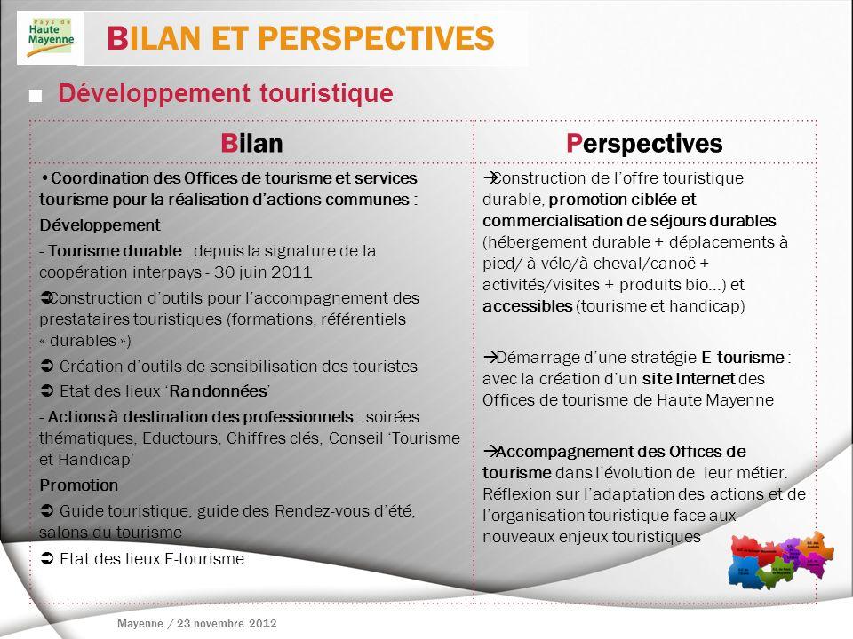 BILAN ET PERSPECTIVES Bilan Perspectives  Développement touristique