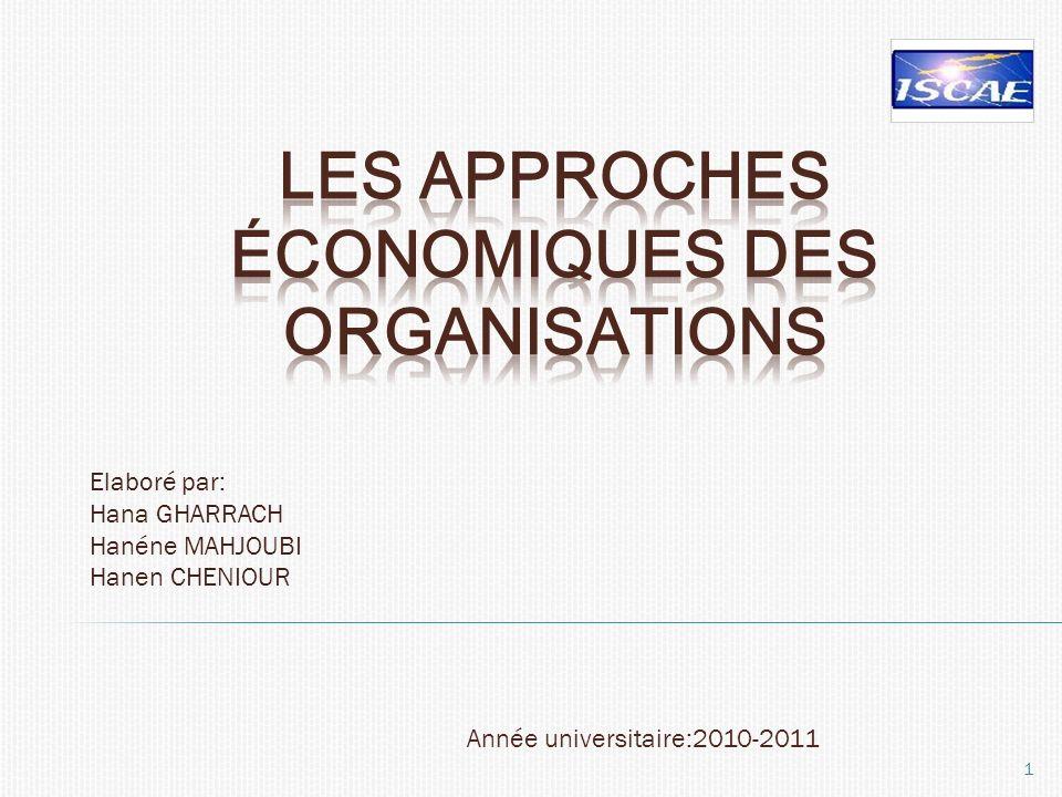 Les approches économiques des organisations