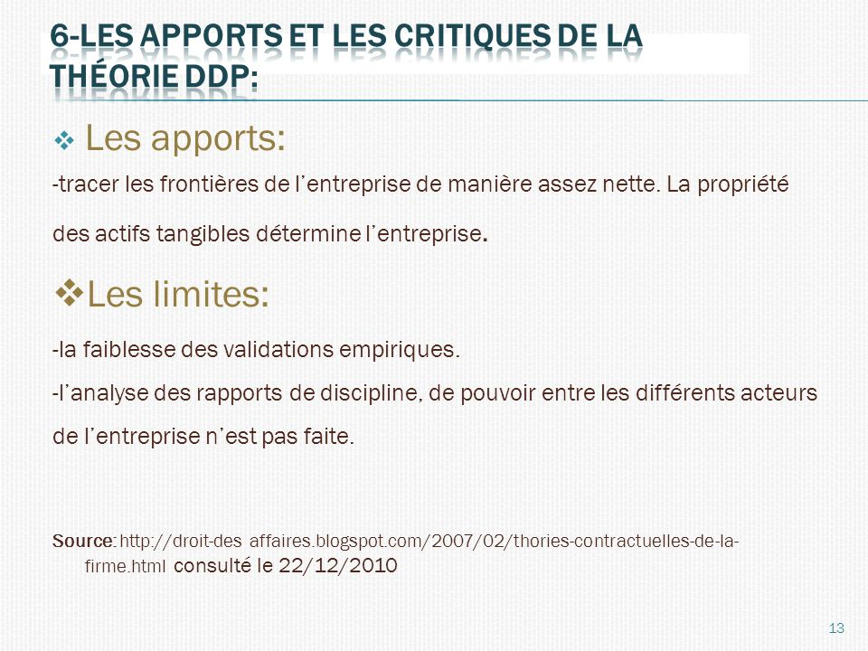 6-Les apports et les critiques de la théorie ddp: