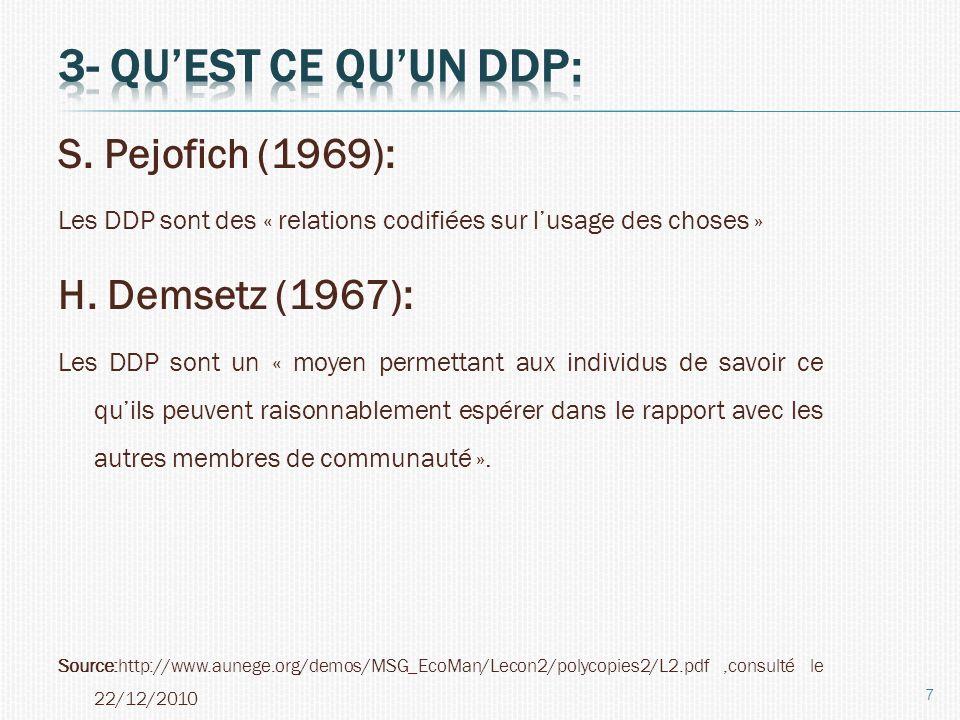 3- Qu'est ce qu'un DDP: S. Pejofich (1969): H. Demsetz (1967):