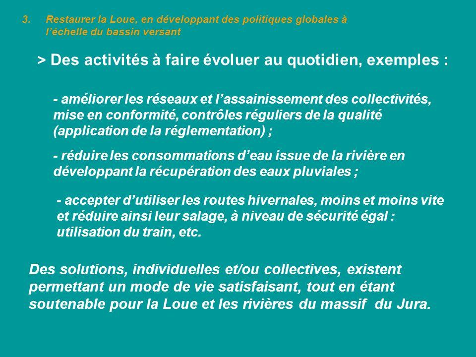 > Des activités à faire évoluer au quotidien, exemples :
