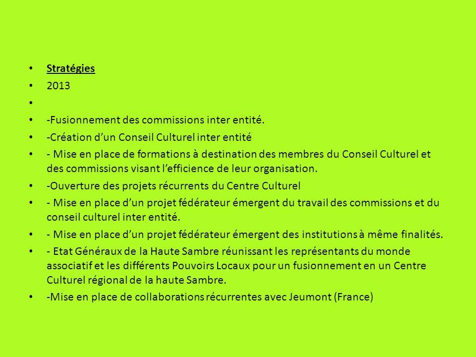 Stratégies 2013. -Fusionnement des commissions inter entité. -Création d'un Conseil Culturel inter entité.