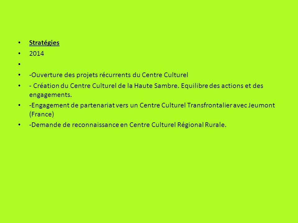 Stratégies 2014. -Ouverture des projets récurrents du Centre Culturel.