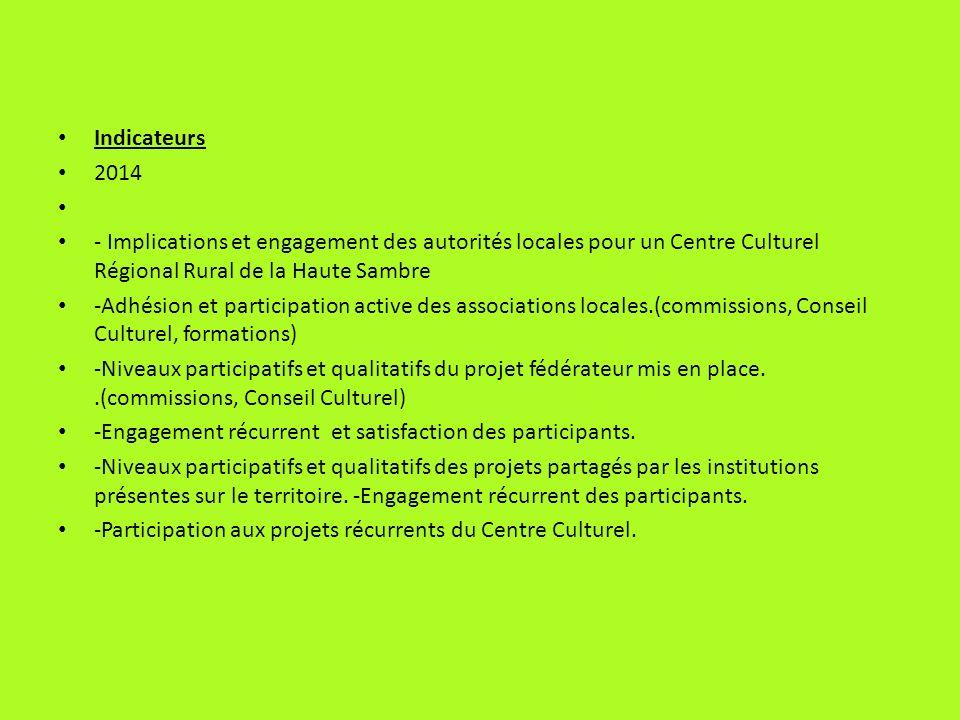 Indicateurs 2014. - Implications et engagement des autorités locales pour un Centre Culturel Régional Rural de la Haute Sambre.