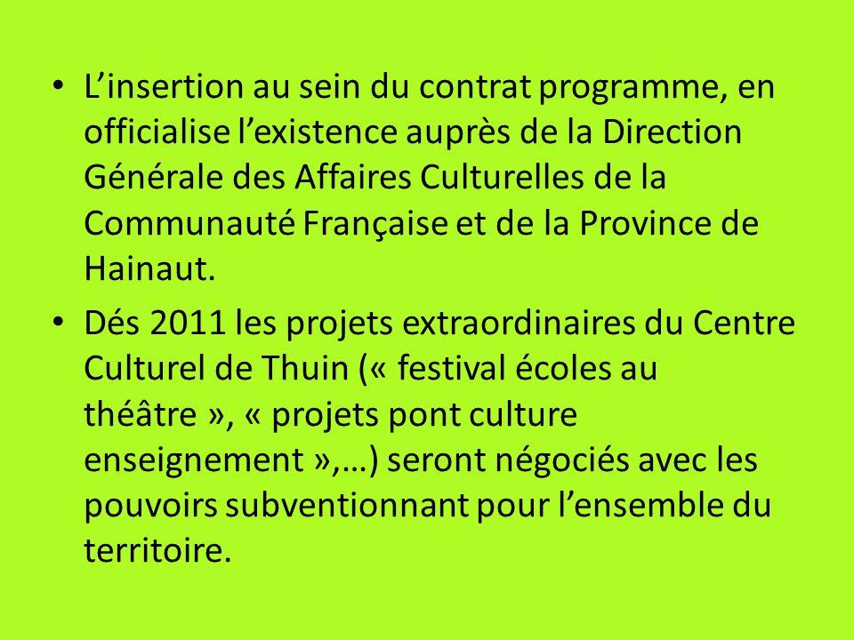 L'insertion au sein du contrat programme, en officialise l'existence auprès de la Direction Générale des Affaires Culturelles de la Communauté Française et de la Province de Hainaut.