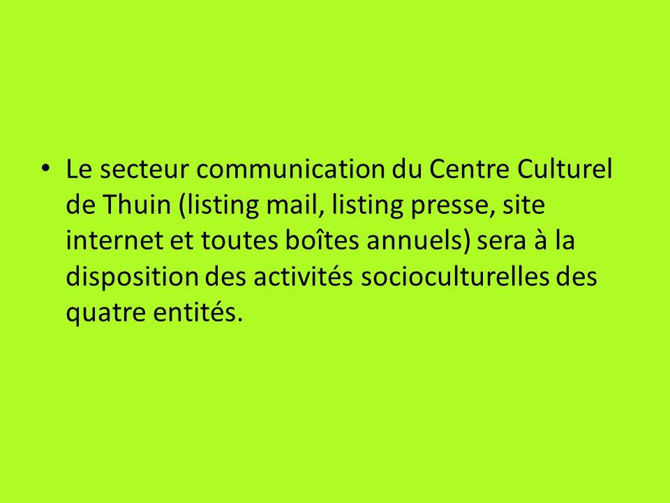 Le secteur communication du Centre Culturel de Thuin (listing mail, listing presse, site internet et toutes boîtes annuels) sera à la disposition des activités socioculturelles des quatre entités.