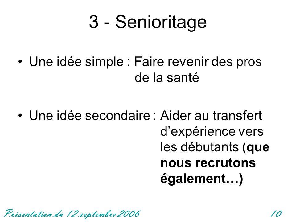 3 - Senioritage Une idée simple : Faire revenir des pros de la santé
