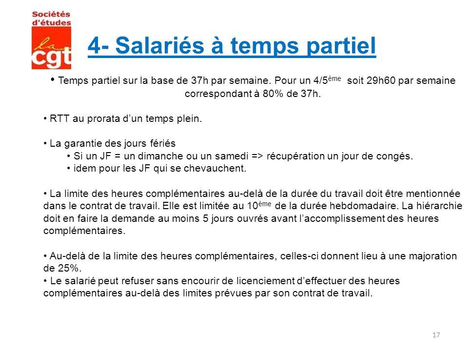 4- Salariés à temps partiel