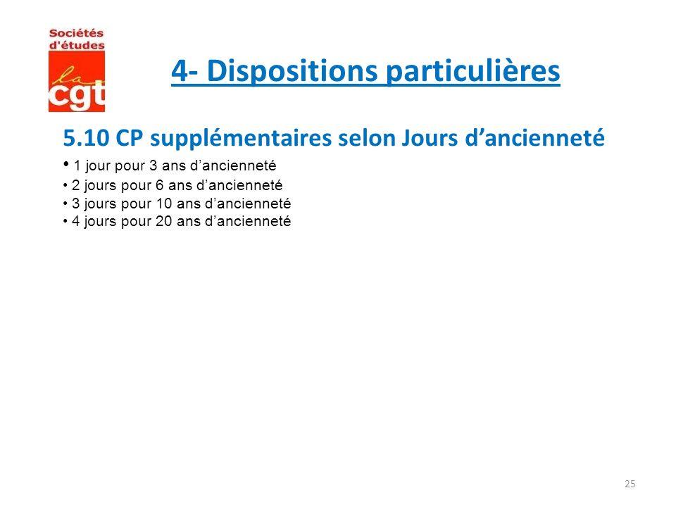 4- Dispositions particulières
