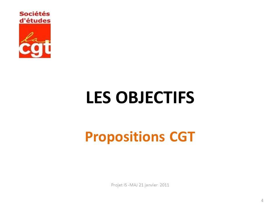 LES OBJECTIFS Propositions CGT