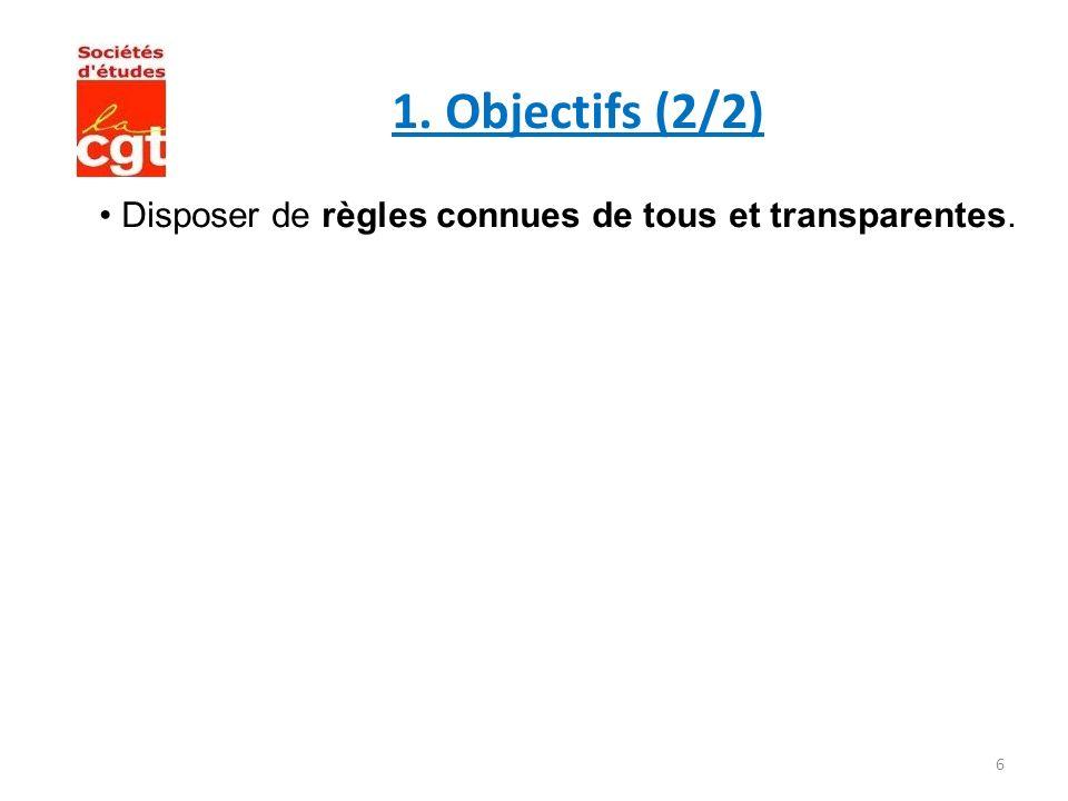 1. Objectifs (2/2) • Disposer de règles connues de tous et transparentes.