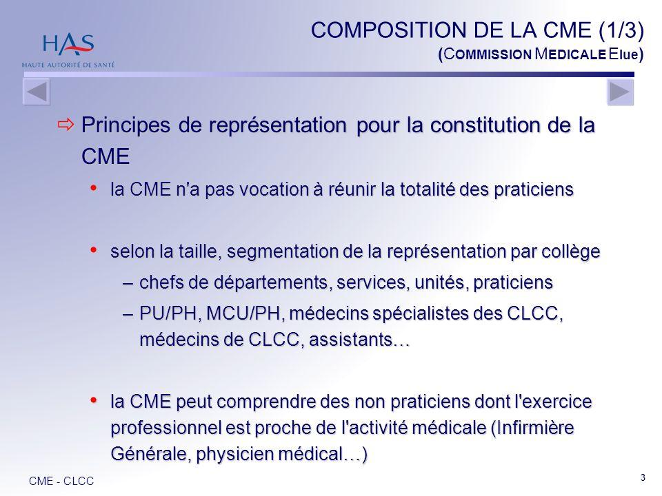COMPOSITION DE LA CME (1/3) (COMMISSION MEDICALE Elue)