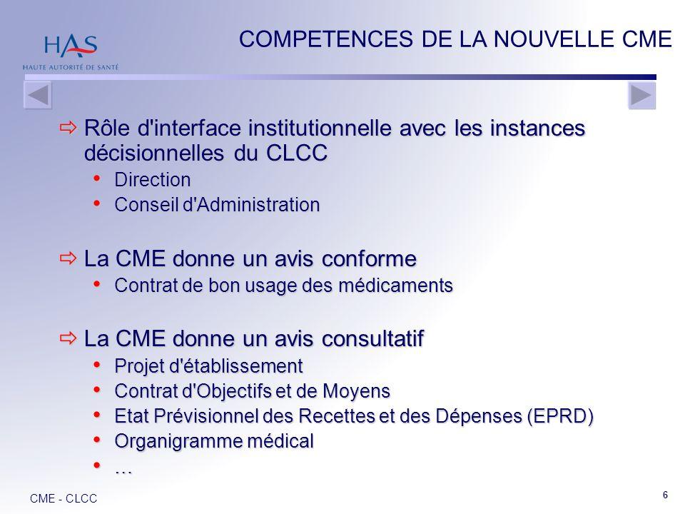 COMPETENCES DE LA NOUVELLE CME