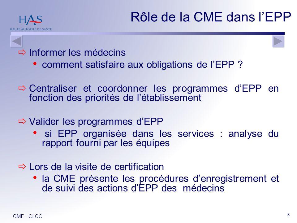 Rôle de la CME dans l'EPP