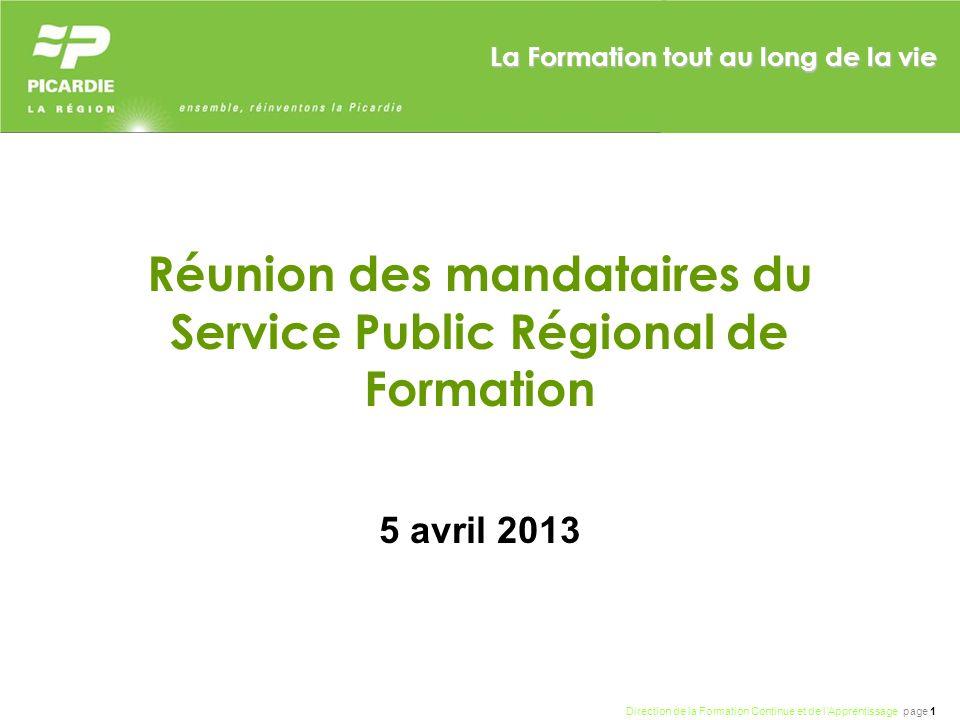 Réunion des mandataires du Service Public Régional de Formation