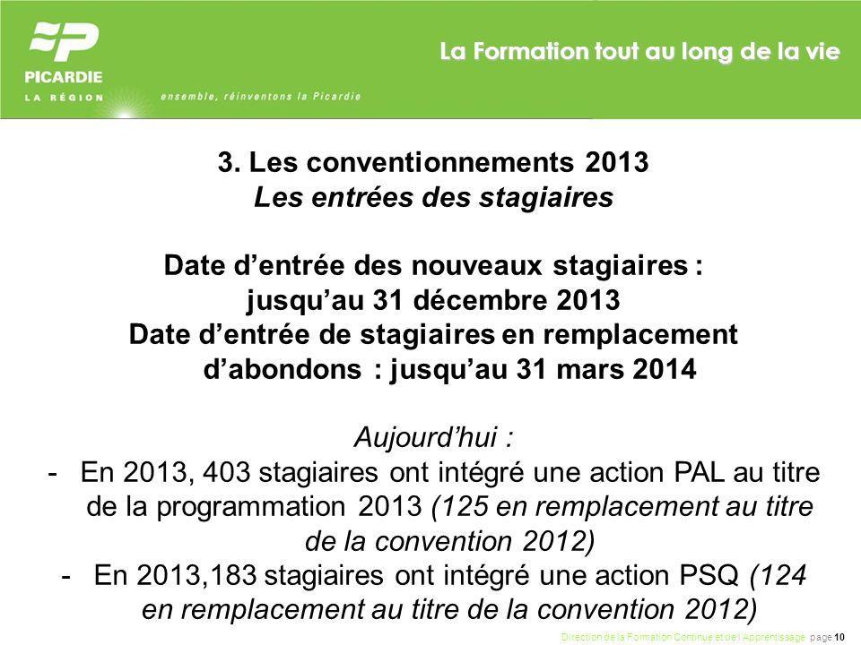 3. Les conventionnements 2013 Les entrées des stagiaires